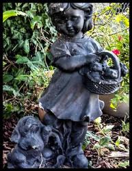 Little Girl Kittens in Basket Puppy Below