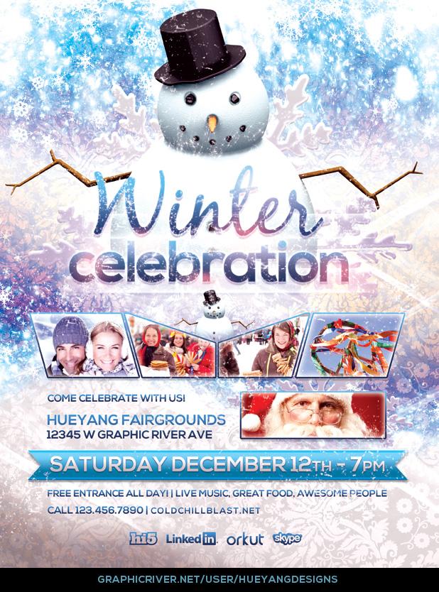Winter Celebration Flyer Template By Hueyangdesigns On Deviantart