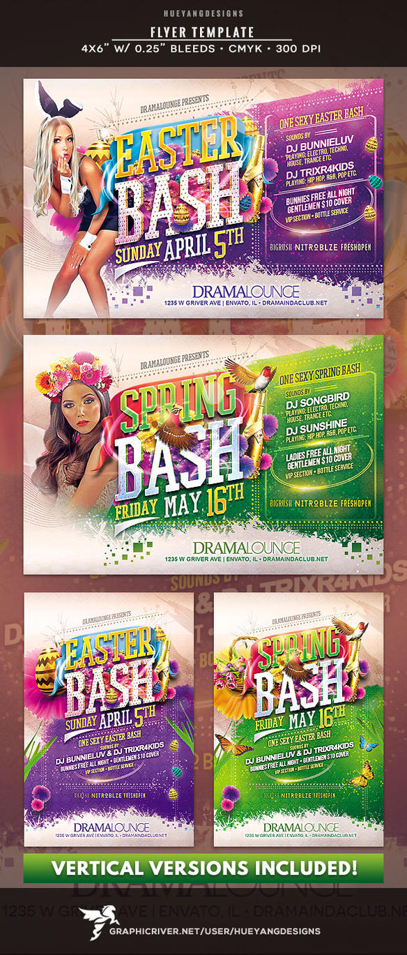 Easter Spring Bash Flyer by hueyangdesigns