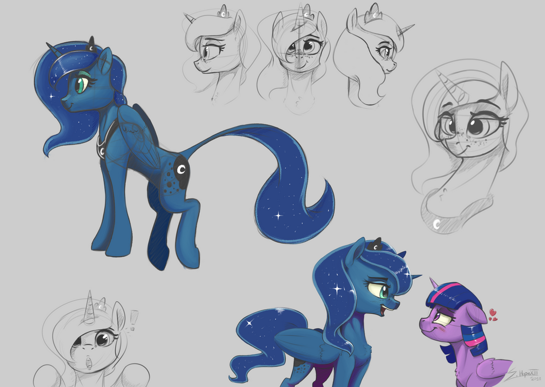 Princess Luna SketchDump by SilverHopeXIII