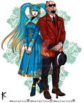 Lee sin and  Sona casual outfit fan art