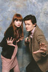 Me and Karen Gillan doing the 'hand pose' at CMMK