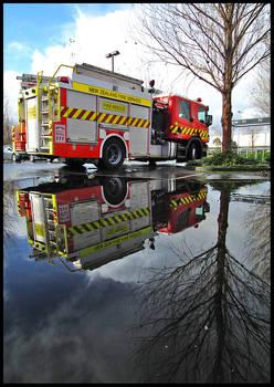 Firetruck reflected