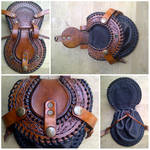 Tooled Brown Leather Pouch