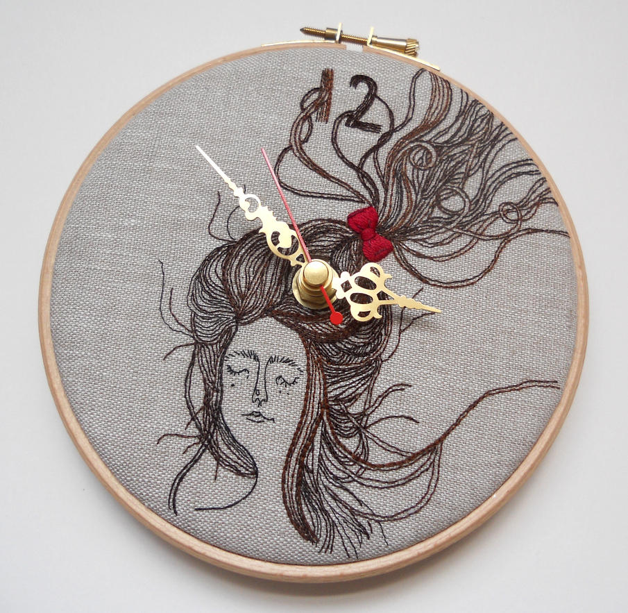 Persinette - Embroidered Linen Folk Wall Clock by MasonBee