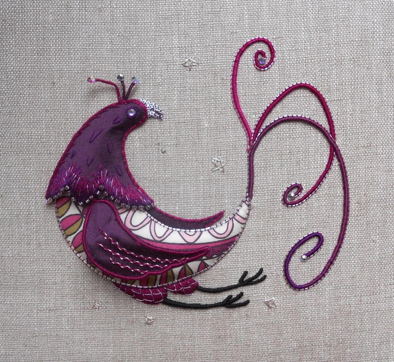 Paradise Bird Stumpwork Embroidery by MasonBee