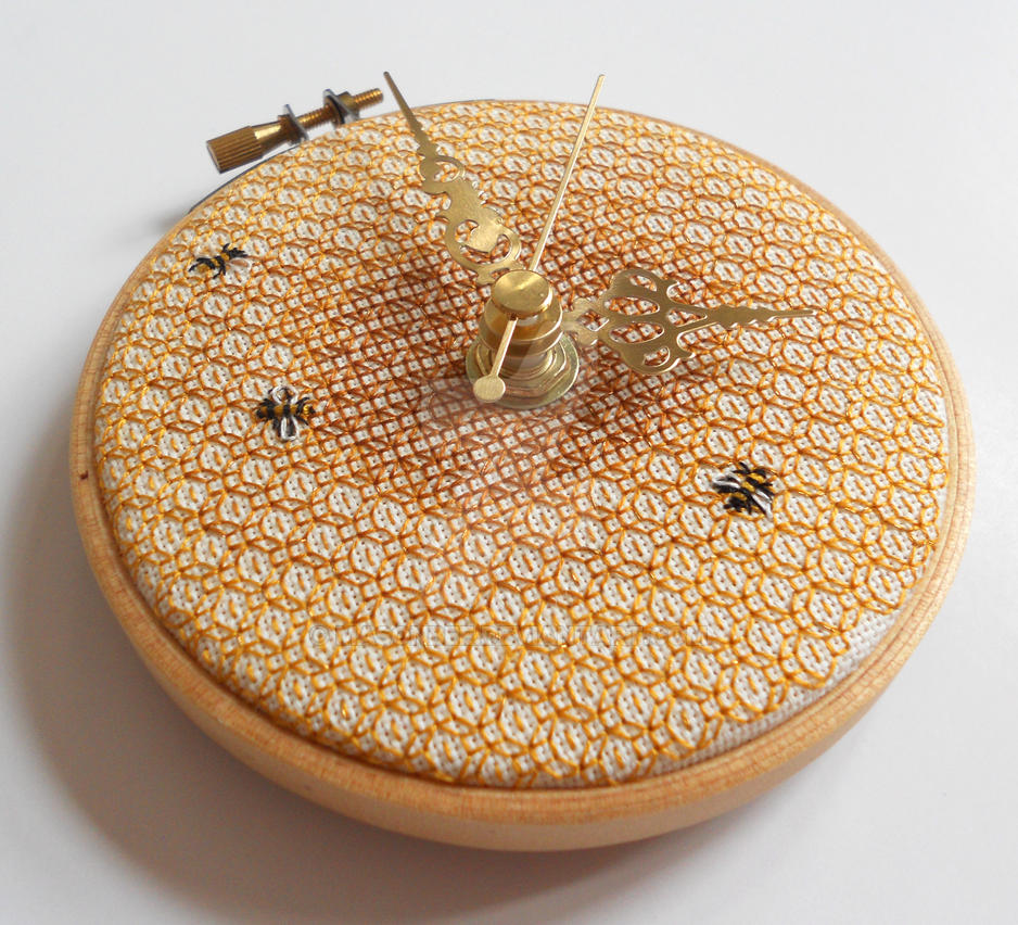 Honeycomb and Bee Wall Clock by MasonBee