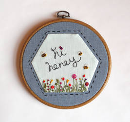 Hi Honey Hand Embroidery Needlework Pattern by MasonBee