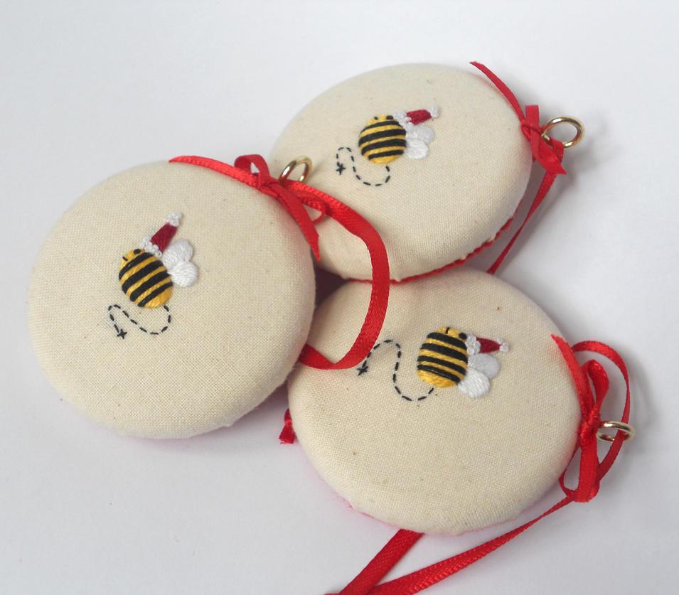Merry Santa Bees Christmas Decorations by MasonBee