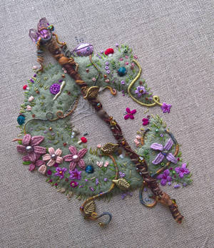 Caduceus Clay Inspired Hand Embroidery