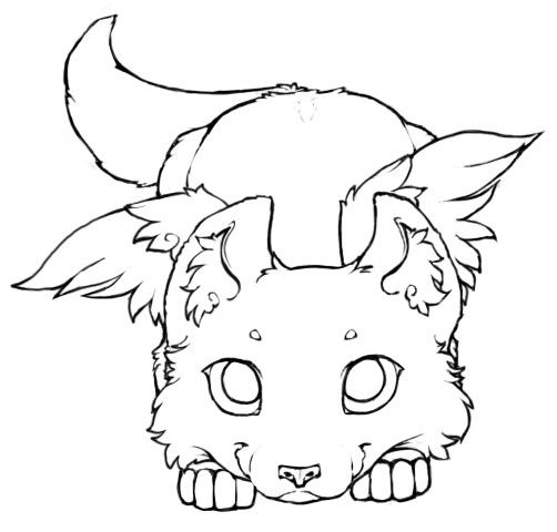 Winged Wolf Cub - Lineart 2 by little-kitsune on DeviantArt