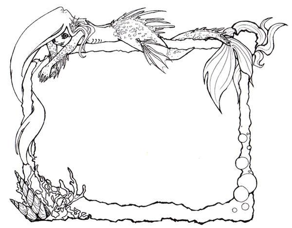 Mermaid Frame - lineart by little-kitsune on DeviantArt