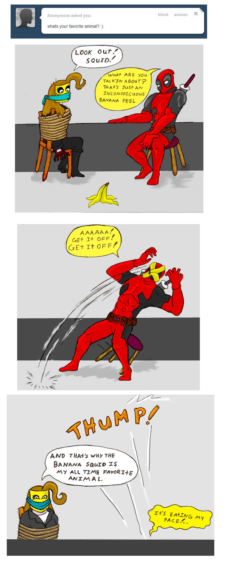 Chainsaw Vigilante+ Deadpool tumblr banana comic by arcanineryu