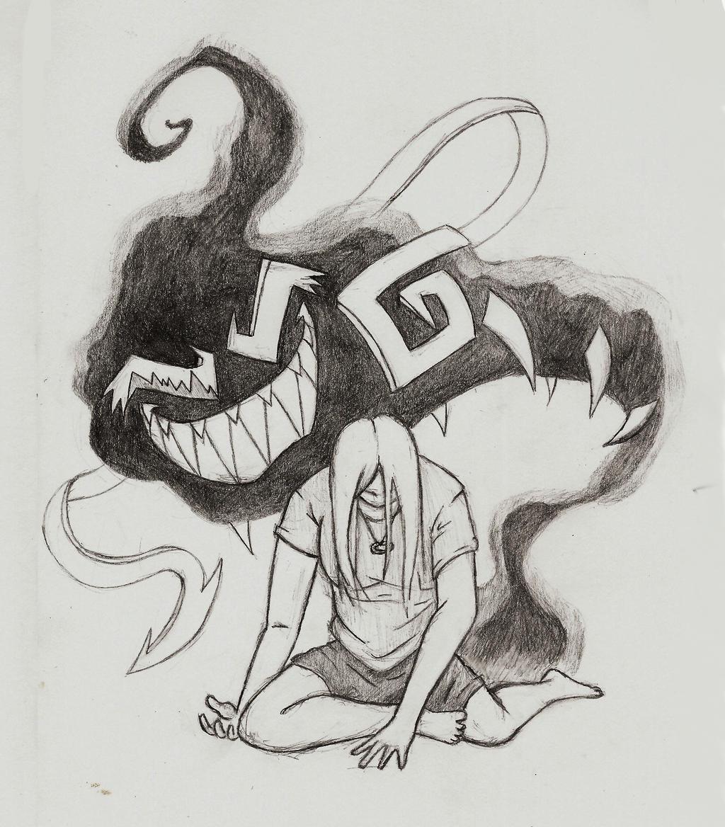 Inner demon pencil art by arcanineryu on DeviantArt