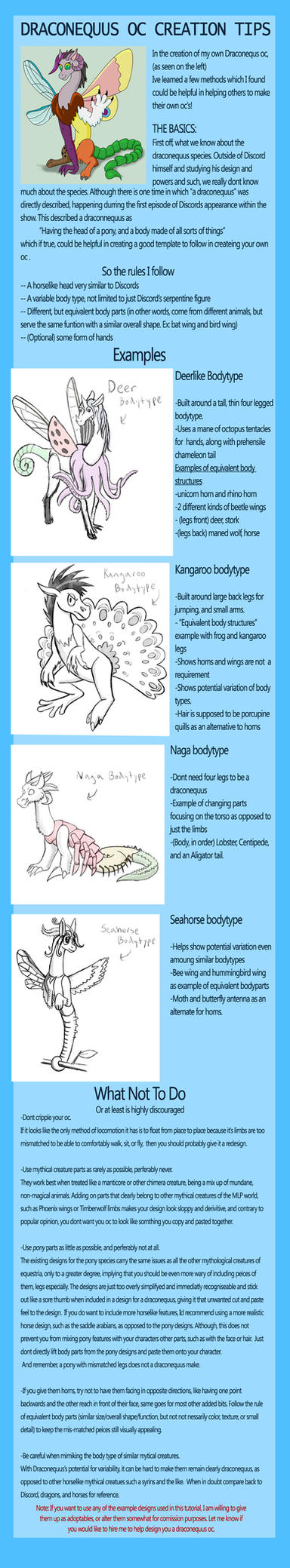 Draconequus Oc Creation Tutorial- my little pony by arcanineryu