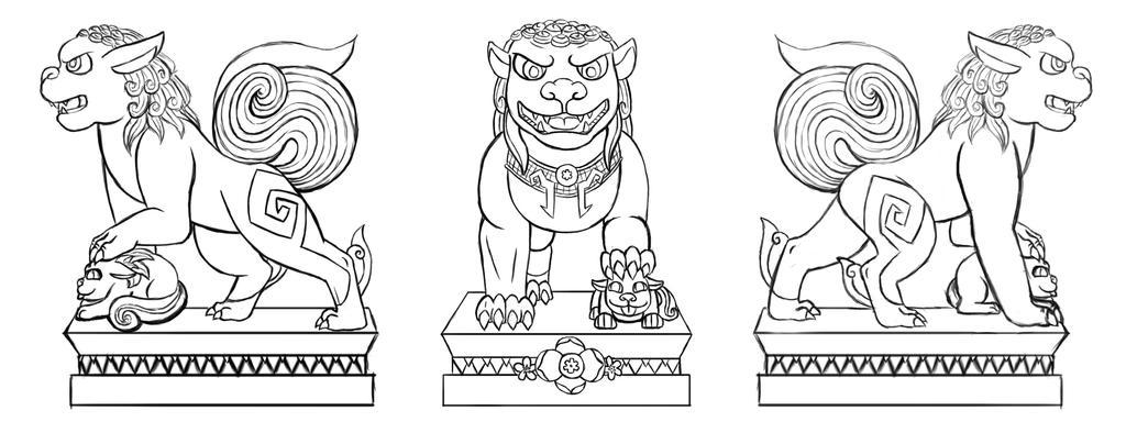 Fu Dog Ceramic Project Reference - Line Art by arcanineryu