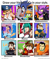 Draw your friend's in your style meme thing! by Gx3RComics
