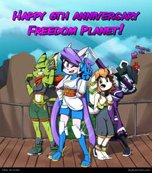Freedom Planet 6th anniversary with dabbing