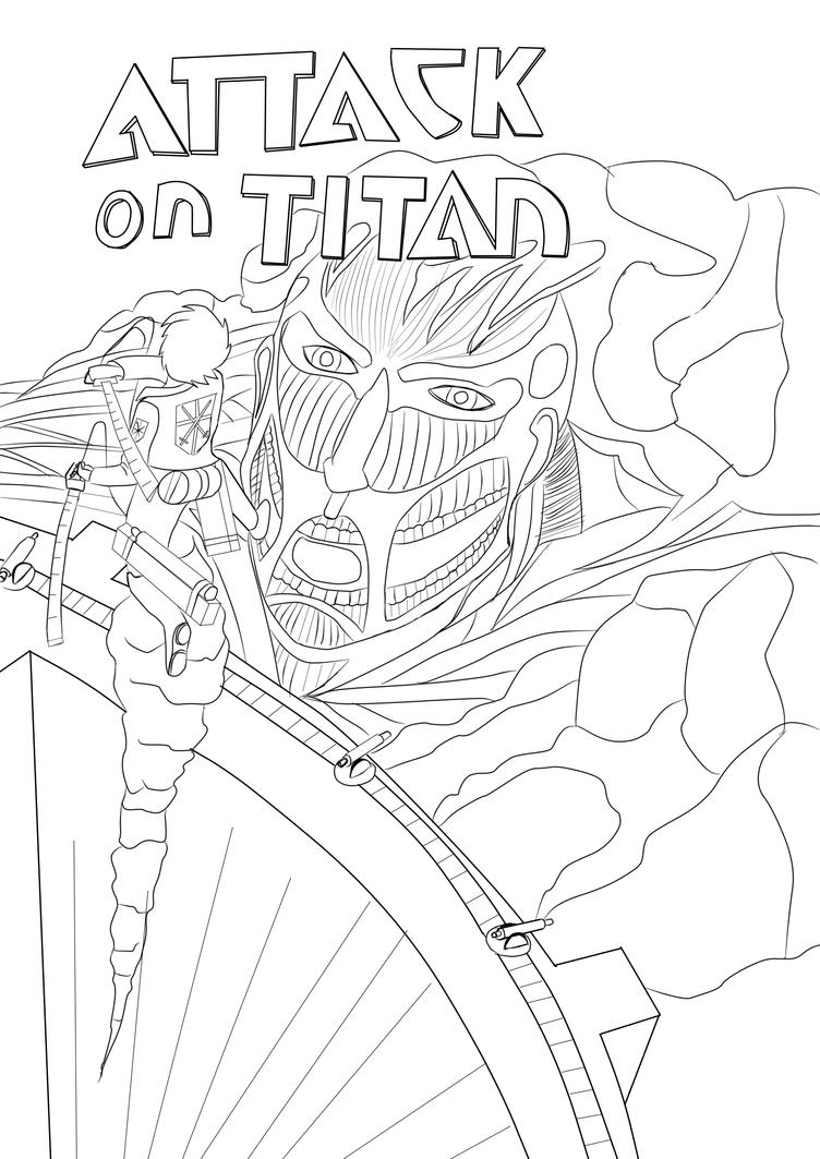 Attack on titan cover lineart by whiteknightx5 on deviantart for Attack on titan coloring pages