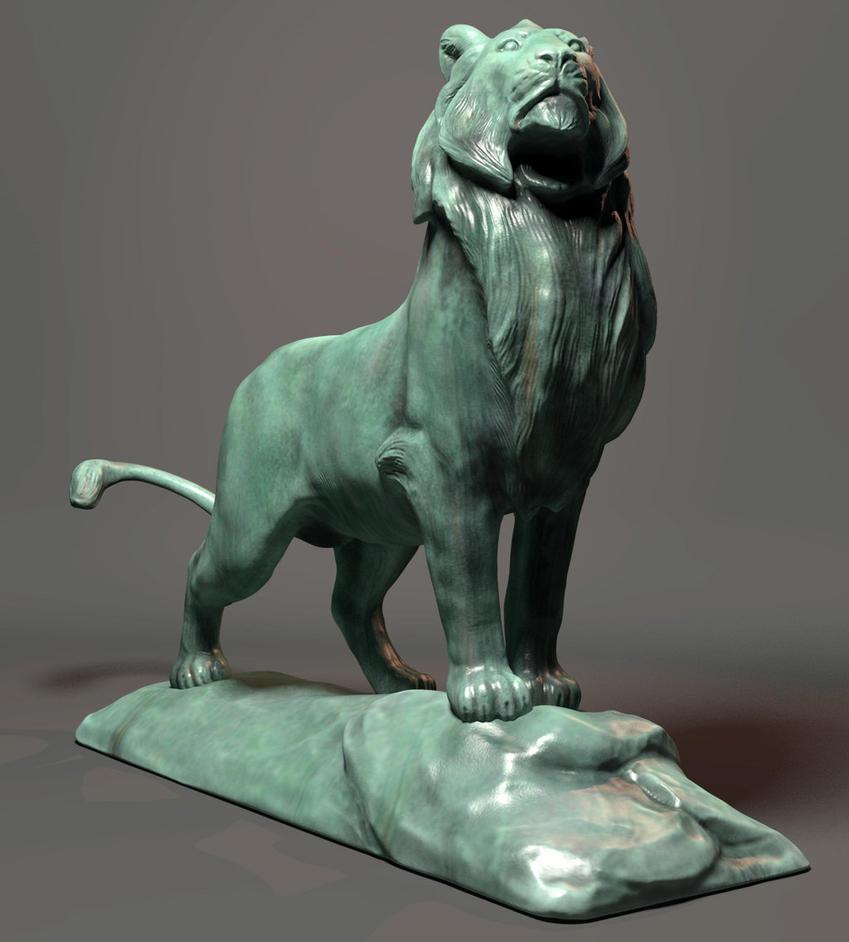 3D Realistic Bronze Lion Statue by cvbtruong