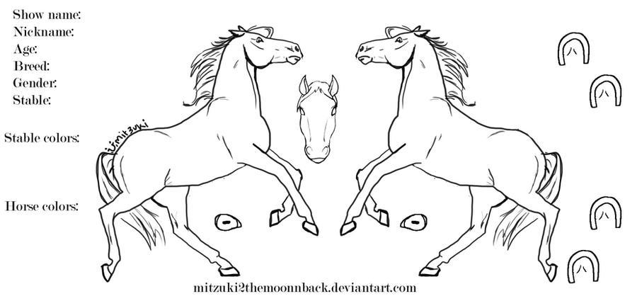 Horse line art by deeohtee