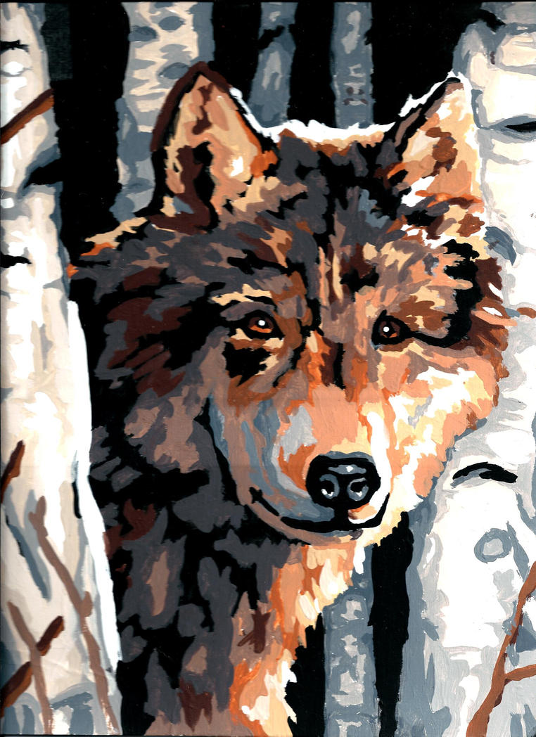 Wolf Painting by BlackheartedShadow