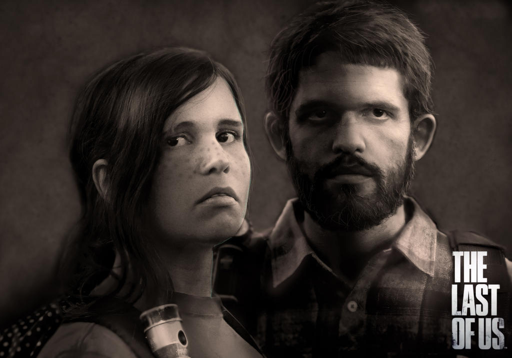 Joel and Ellie Black and White portrait