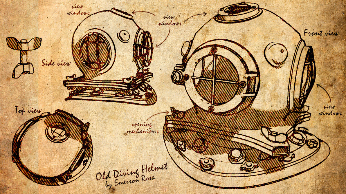 old diving helmet by iemersonrosa on deviantart