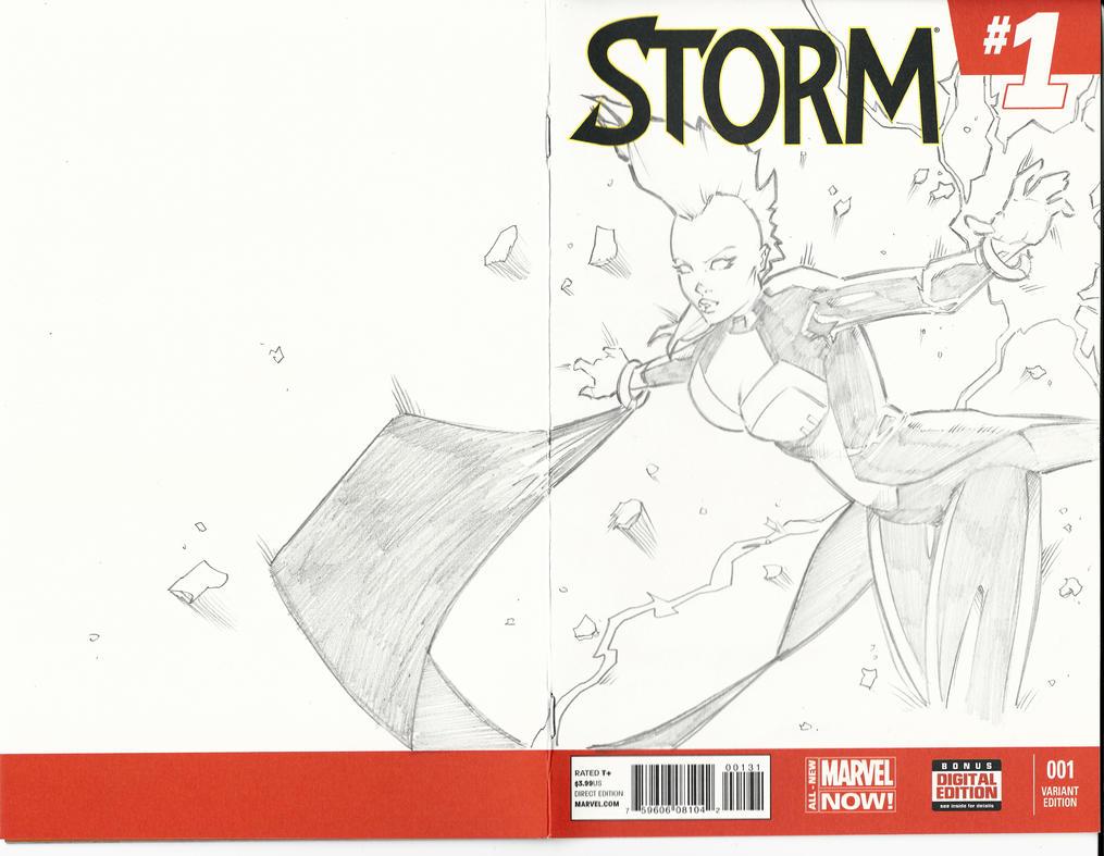 Pencil Sketch Cover Storm Xmen by BrianVander