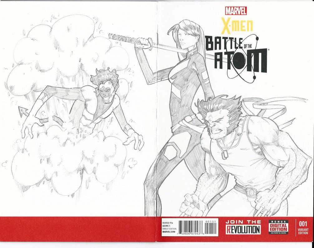 Xmen Sketch Cover Wolverine Nightcrawler Psylocke by BrianVander
