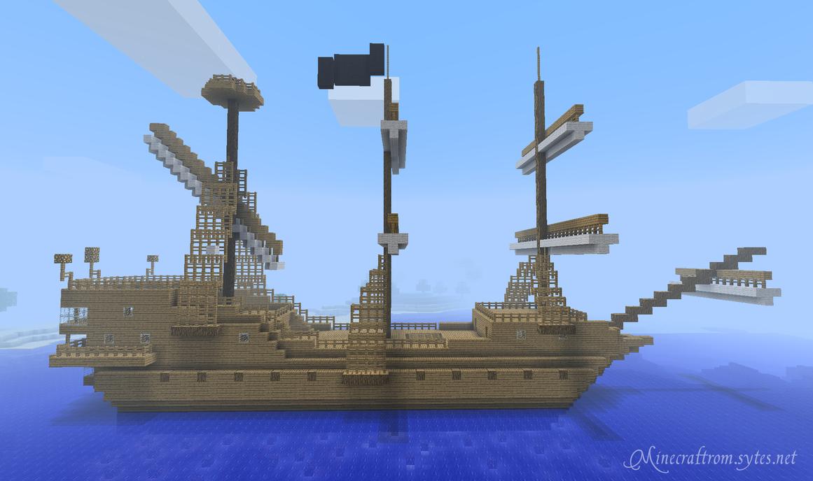 Minecraft galleon by FasterKillPirate Ship Minecraft Design