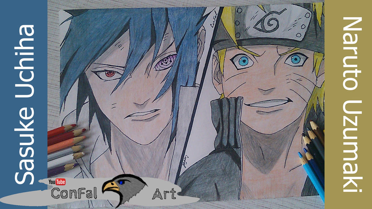 Speed drawing naruto vs sasuke by confal art