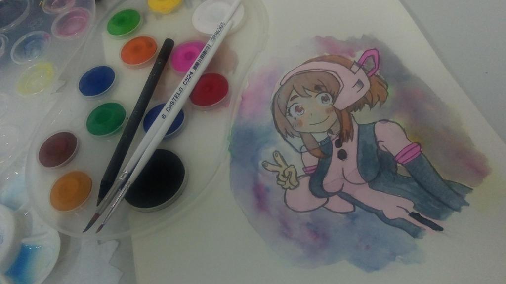 Uraraka on Watercolors by nRaijin