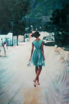 Bare feet blue dress