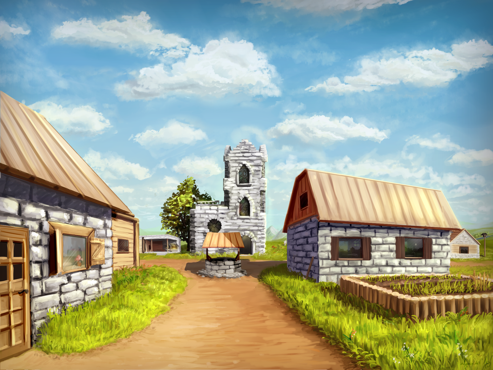 Amazing Wallpaper Minecraft Real Life - minecraft_village_by_algoinde-d8i3kbh  Graphic_95584.png