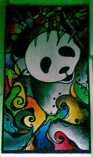 panda on wall by nikolaihoe27