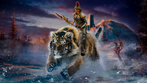 Riding on tiger