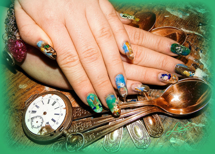 Alice In Wonderland Nail Art by Undomiele