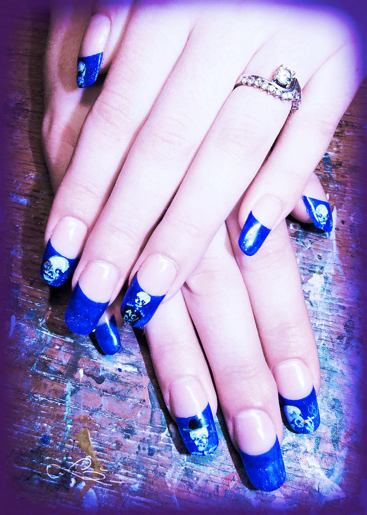 Blue french gel nails with skulls by Undomiele on DeviantArt