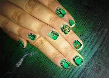 Forest Of The Fox Family nail art