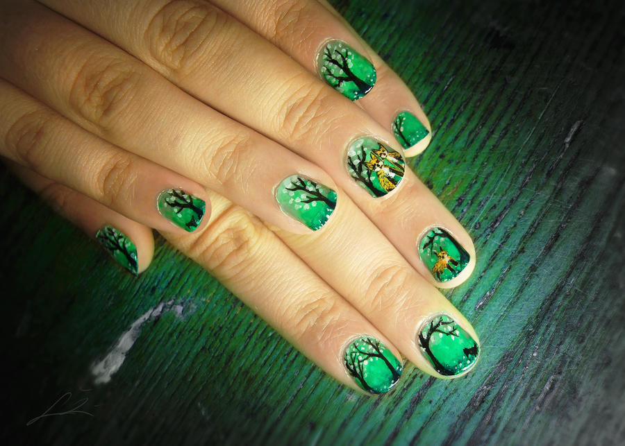 Forest Of The Fox Family nail art by Undomiele on DeviantArt