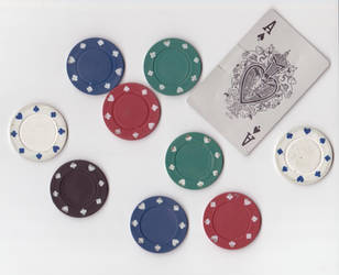 Poker Chips and Ace of Spades by Minato999