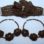 Crochet flower hoops and bracelet