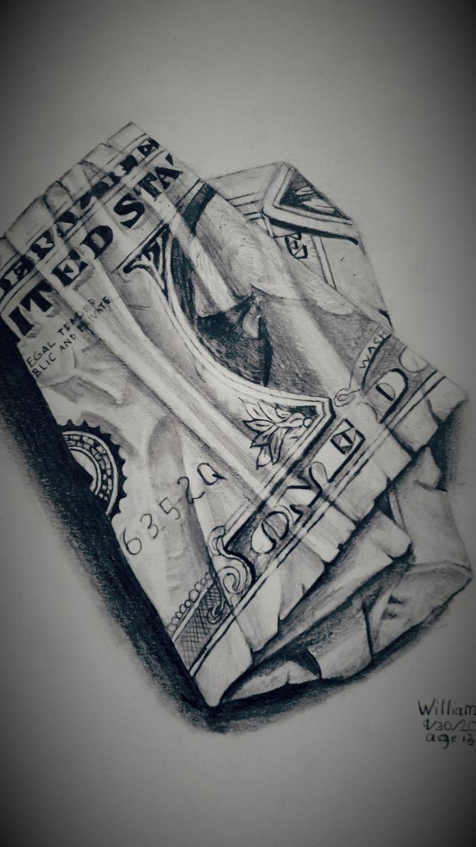 One dollar bill pencil drawing by dubz002
