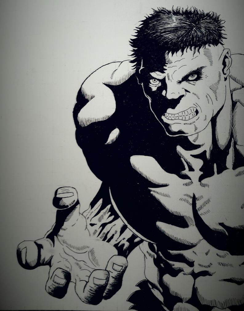 Hulk ink drawing by dubz002