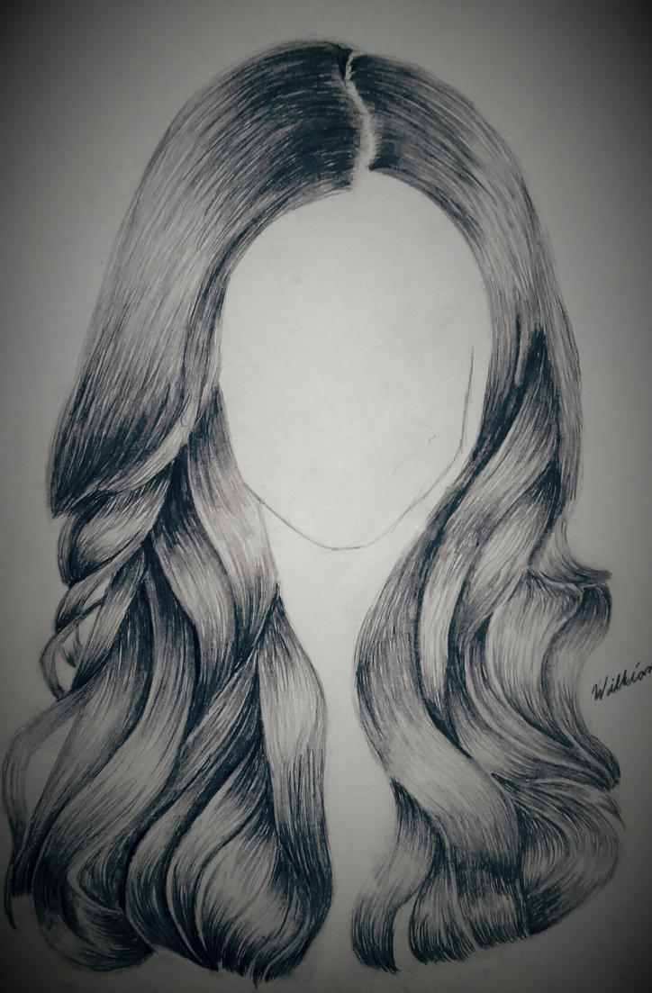 Pencil drawing of hair by dubz002