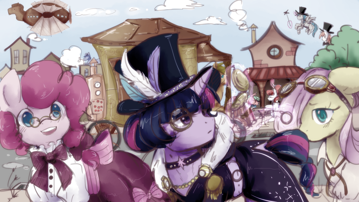 Steampunk Ponyville by PurrrfectArtist