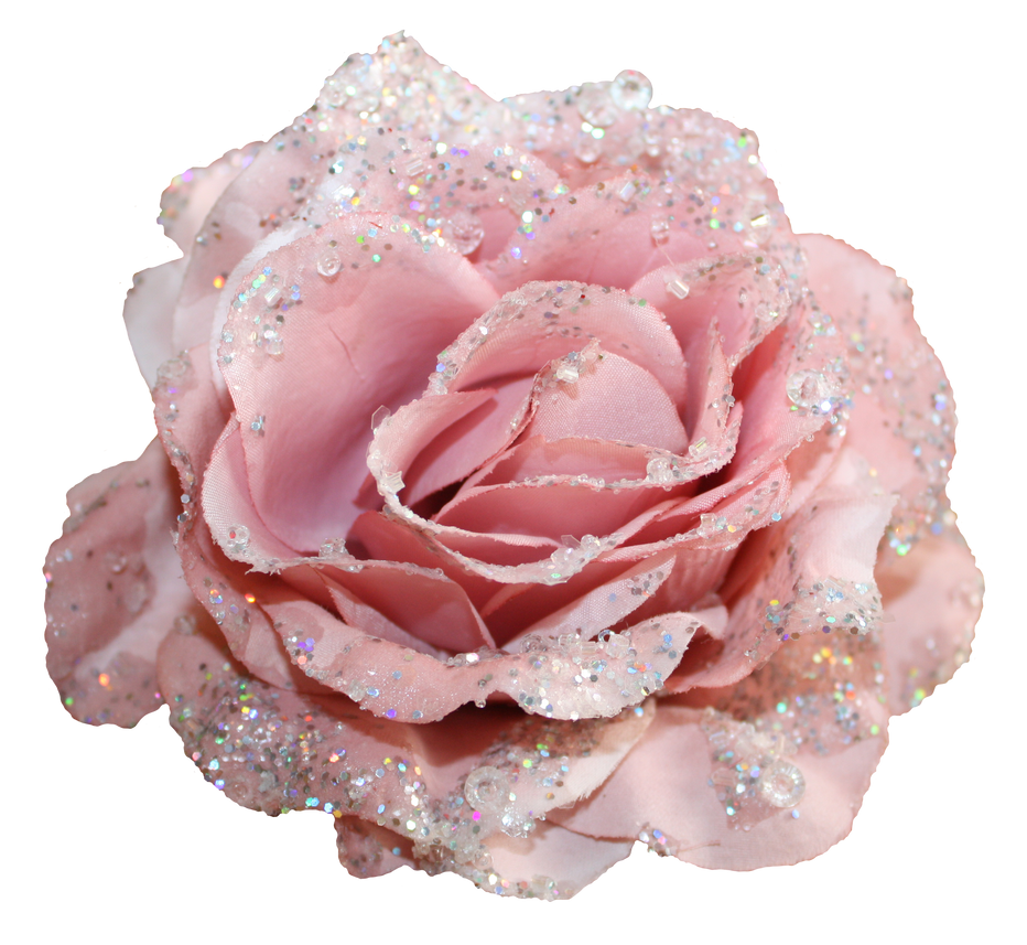 Grannysatticstock Pink Glitter Fabric Rose By Grannysatticstock On