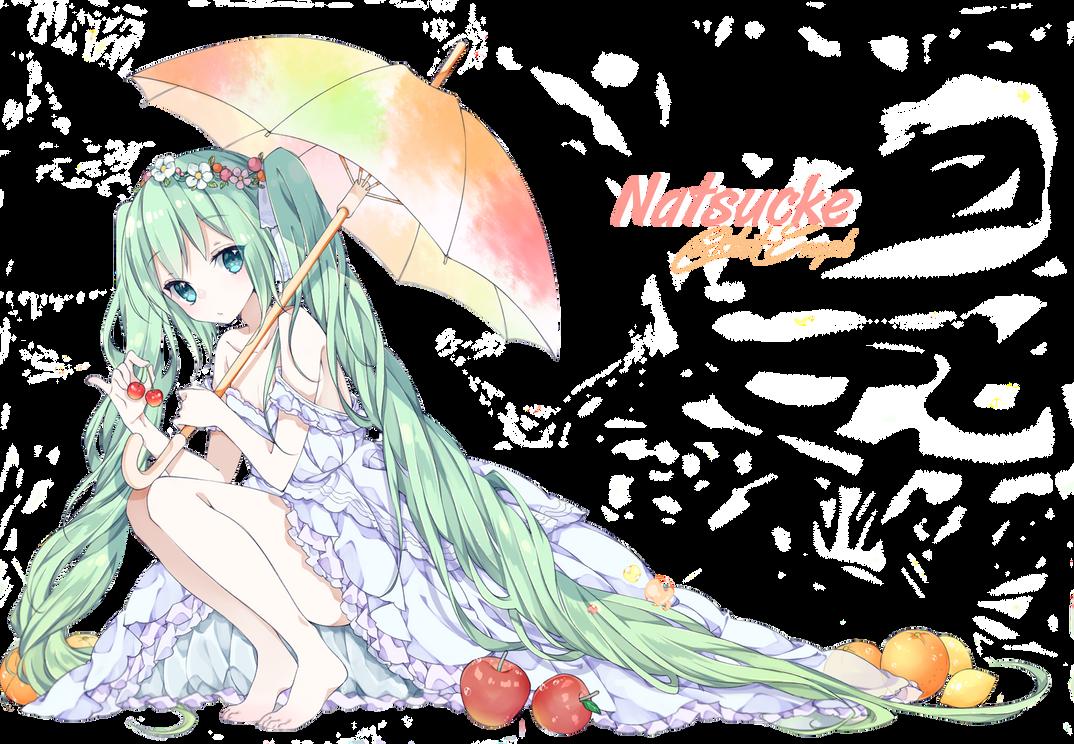 Render Hatsune Miku / Fruit / Parapluie by Natsucke