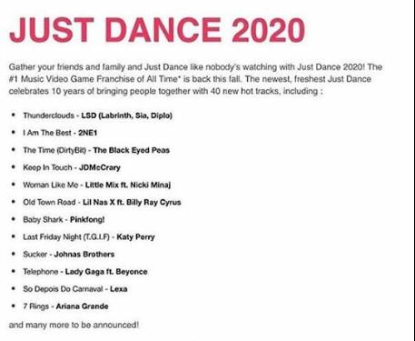 Just dance 2020 songs